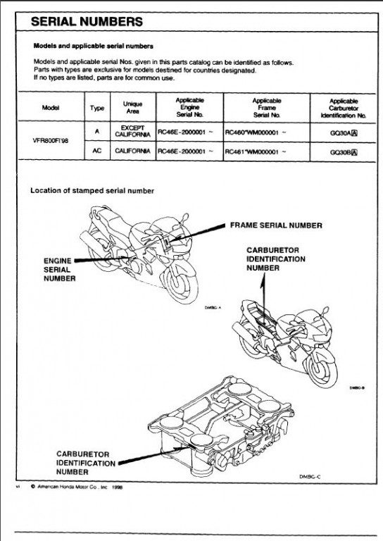 Honda VFR800 98 parts catalog