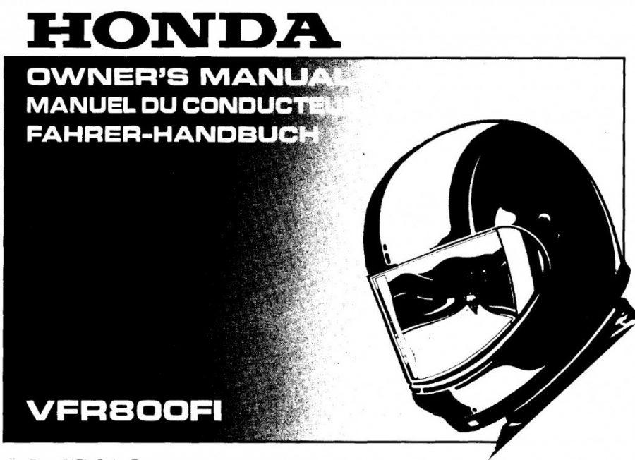 Honda VFR800 owners manual
